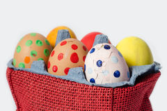 Crash Easter eggs. Easter traditional breaking eggs isolated on white stock images