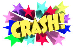 Crash. Golden word among bright multi colored stars Royalty Free Stock Image