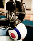 Crash helmet on the back of a lambretta Royalty Free Stock Photo