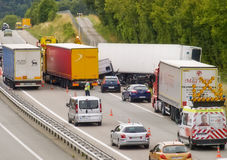 Crash on highway envolving Trucks. French motorway A36 accident envolving trucks and cars,on summer 2015,eleven people hurt Royalty Free Stock Photo