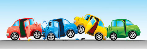 Crash involving four cars. Illustration of a crash involving four cars in four colors, red, blue, yellow and green, on a flat road stock illustration