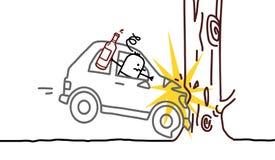 Crash ivre d'homme et de véhicule illustration stock