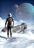 Crash landing. An humanoid alien pilot crash landed on a frozen planet in 3d Royalty Free Stock Image