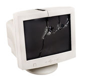 Crash monitor. Photo white crash monitor, on white background, isolated Stock Photo