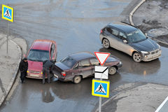 Crash of passenger cars on the road in Tyumen, Russia. Royalty Free Stock Images