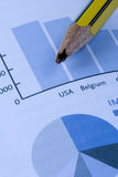 Crash pencil over a report. Economic problems in USA stock photography
