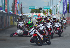 Crash Scene at Malaysian Cub Prix 2014. This photo was shot at Alor Setar, Kedah, Malaysia Stock Photography