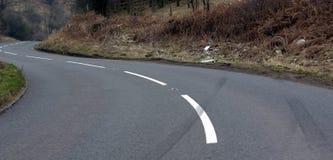 Crash skid. Skid marked car crash site Royalty Free Stock Image