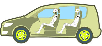 Crash test. Dummies in the test car Royalty Free Stock Image