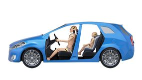 Crash Test Dummies in the Car. Side view. 3D illustration Stock Photos