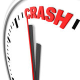 Crash. Text on a clock Royalty Free Stock Photos