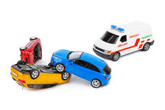 Crash toy cars and ambulance car Stock Image