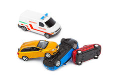 Crash toy cars and ambulance car Royalty Free Stock Photo