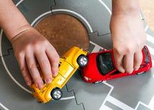 Crash toy cars stock image