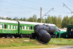 Crash of trains. The passenger train collided with the freight train stock photos