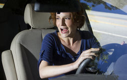 Crash. Two woman bracing for a car crash accident Royalty Free Stock Image