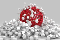 Crash of white cubes and hollow sphere. 3D render image Royalty Free Stock Photography