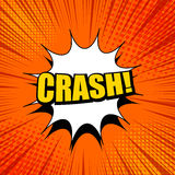 Crash wording bright template. With white blot halftone effects and rays on orange background in comic style. Vector illustration Stock Photo