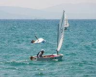 Crash yacht at the start in Pomorie Royalty Free Stock Photography