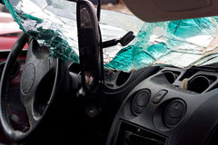 Crashed Automobile Interior. Inside interior view of a car that was in a bad accident Royalty Free Stock Photo