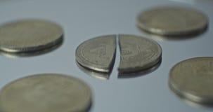 Crashed bitcoin close up up