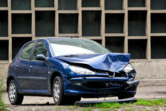 Crashed blue car Royalty Free Stock Photography