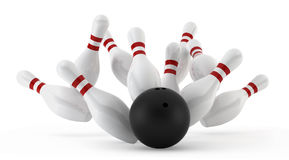 Crashed bowling skittles. 3d render on white Royalty Free Stock Images