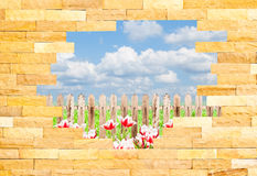Crashed Brick Wall with landscape behi Royalty Free Stock Photos