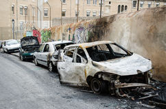 Crashed burned cars. Burned cars in the middle of Marseilles city center, France Royalty Free Stock Photography