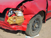 Crashed car. Crashed red car after a traffic accident Royalty Free Stock Photos