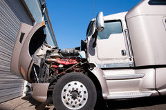 Crashed in car accident big semi truck Stock Photos