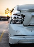 Crashed car, the accident on road Stock Photos
