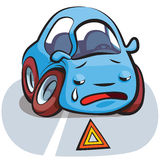 Crashed Car Cartoon Vector Royalty Free Stock Images