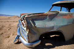 Crashed car in the desert Royalty Free Stock Photo