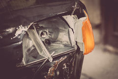 Crashed car headlight detail Royalty Free Stock Photography