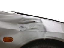 Crashed car. Image of side view of a crashed car Stock Images