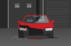 Crashed car in night street vector, concept of auto crime stock illustration
