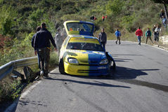 Crashed car during race Royalty Free Stock Photography