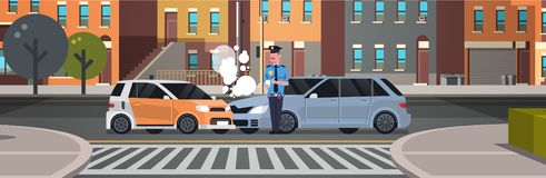 Crashed car road accident police officer in uniform issuing report policeman writing legal fine document city buildings. Background flat horizontal banner stock illustration