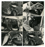 Crashed car-sequence. This black and white old images are taken in Italy in 1965 royalty free stock image