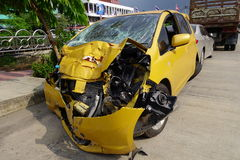 Crashed car. From serious accident Royalty Free Stock Photos