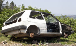 Crashed Car. On the side of the road Royalty Free Stock Photography