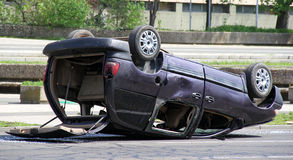 Crashed car. On the street stock images