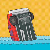 Crashed Car in Water. Cartoon of single car stuck in water Royalty Free Stock Photo