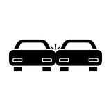 Crashed cars black color icon . Stock Images