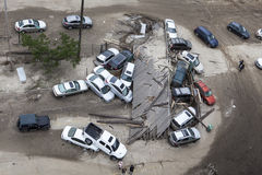 Crashed cars after Hurricane Sandy Royalty Free Stock Image