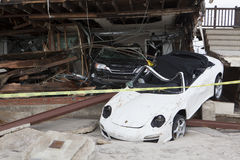 Crashed cars after Hurricane Sandy Stock Images