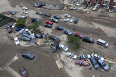 Crashed cars after Hurricane Sandy Stock Photo