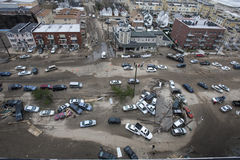 Crashed cars after Hurricane Sandy Stock Image