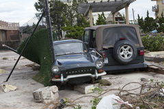 Crashed cars after Hurricane Sandy Stock Photography